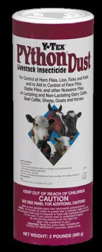 """Python Dust Shaker Can, 2 Lb by Ytex Corporation. $7.16. Size: 3"""" X 9"""" X 3"""". For control of horn flies lice ticks and keds and to aid in the control of face flies stable flies and other nuisance flies . Apply up to 2oz of dust per animal evenly into the hair over the head ears neck shoulders back and tailhead. For stable flies app. Save 25% Off!"""