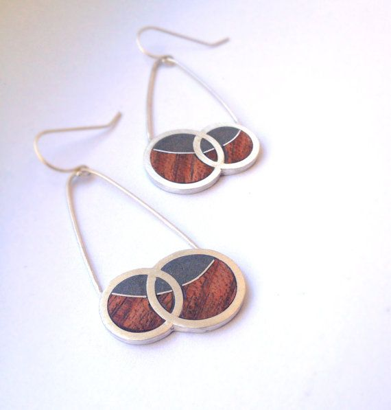 Sterling Silver, Concrete and Wood Earring