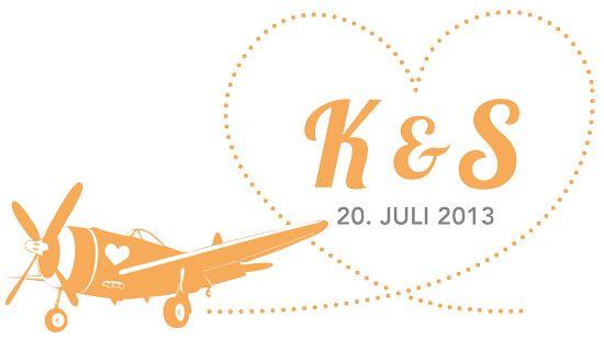Hochzeitslogo Reise ins Glueck, Orange und Herz