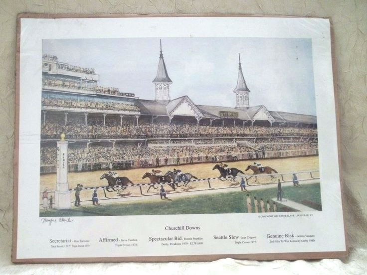Kentucky Derby Churchill Downs Unframed Signed Print Wayne Clark Horse Raceing #Americana