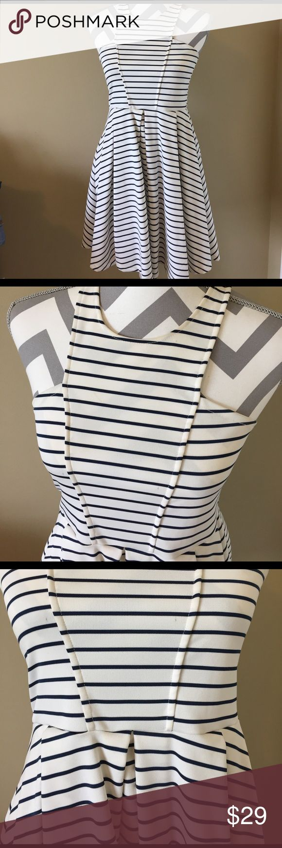 [Altar'd State] striped pleat flare dress Navy stripes on cream. Thicker material. Racerback and detail bodice. Pleats and flare. Altar'd State Dresses
