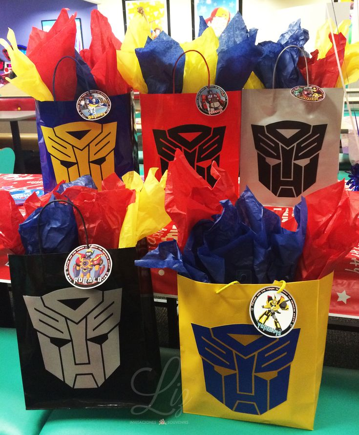 Transformers Birthday Party favor treats bags / Bolsas Dulceros personalizados cumpleaños Transformers