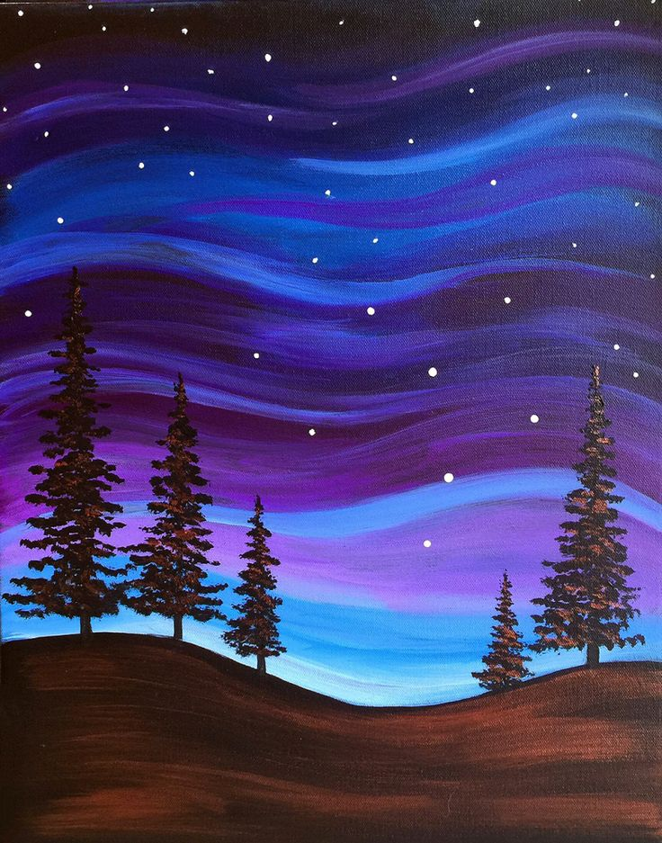 Beginner Canvas Painting Idea Of Northern Lights And Evergreen Trees On  Rolling Hills. Take A Glimpse And Be Inspired By The Paintings You Could  Create ...