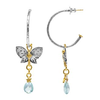Fine hammered hoop with spotty winged butterfly, tiny star and aquamarine briolette drops in silver with gold plated detail.   Sophie Harley, Beautiful Designer PE28H from the Papillion Rose collection.