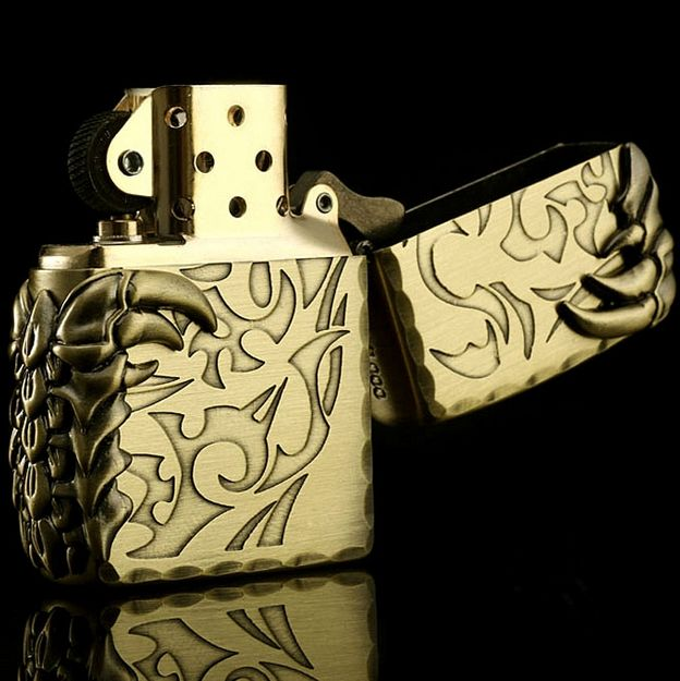 Japanese Antique Brass Tribal Dragon 2 Claw Zippo Limited Edition Lighter