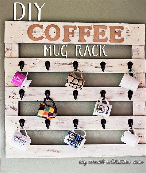 #DIY Pallet Coffee Cup Holder Make Your Kitchen Organized