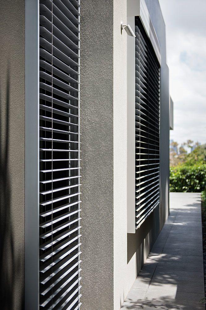 Motorised External Venetian blinds in fully opened position.                                                                          |                                                                          Window Furnishing: Aluminium Venetian                                                                          |                                                                          Room: External
