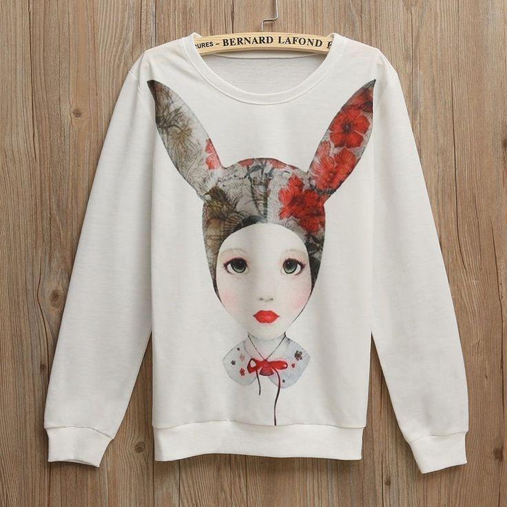 Pullover Casual per le donne hoodies abbigliamento orecchie di coniglio del fumetto della ragazza 3d print pullover donna felpa con cappuccio manica lunga felpata casuale in                                                                                                                   da Felpe con cappuccio e felpe su AliExpress.com | Gruppo Alibaba
