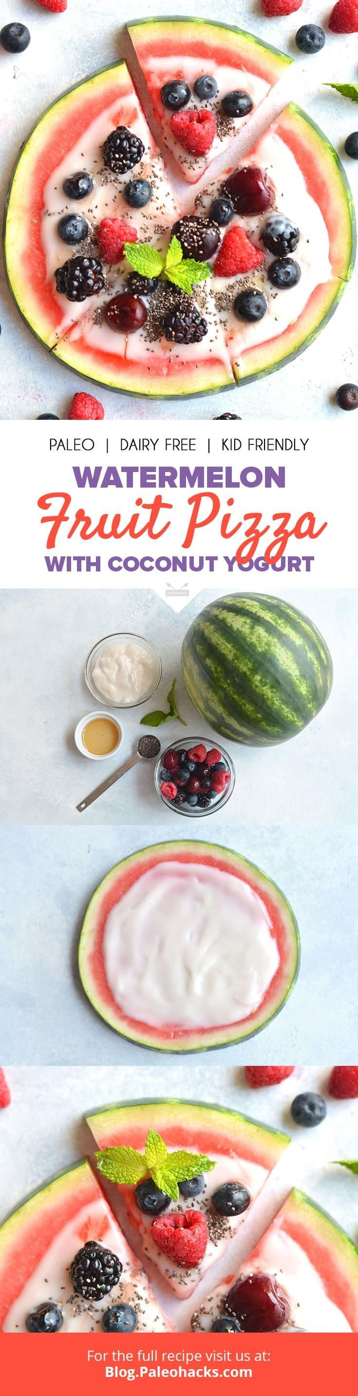 Sweet Watermelon Fruit Pizza topped with a homemade coconut yogurt and fresh berries for a dazzling summer dessert! Get the recipe here: http://paleo.co/watermelonpizzarcp