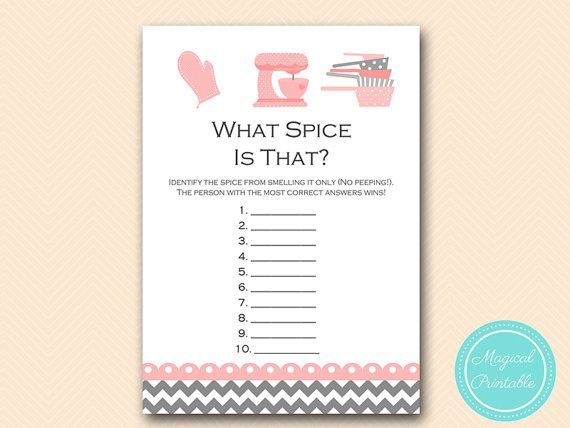 Guess the Spice Kitchen Theme Bridal shower by MagicalPrintable