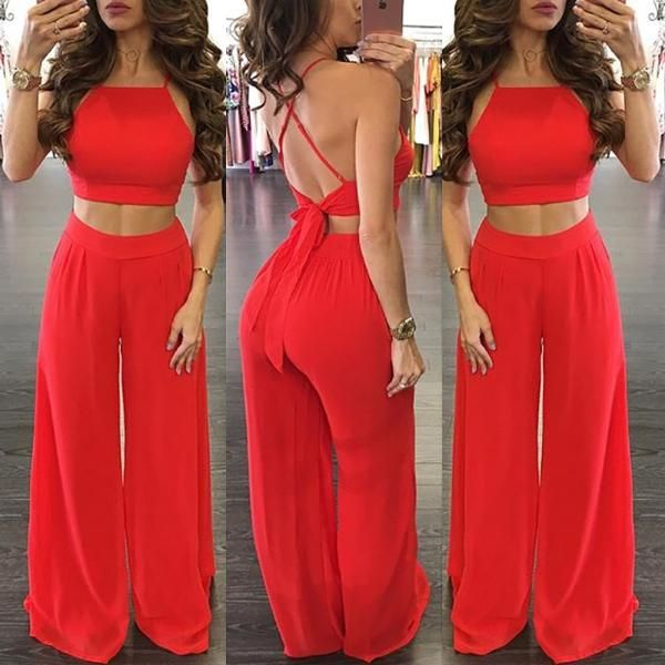 Trendy Tied Cropped Flared Pantsuit