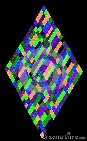 Hand drawn vertical diamond shape filled with colorful rectangles and squares, isolated on a black background.