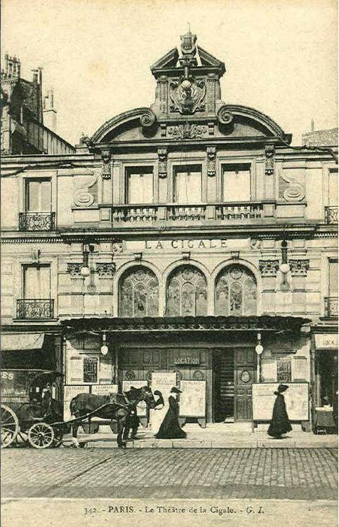 """Paris """"Belle Époque""""postcard, """"342, Paris, Le Théâtre de la Cigale, G.I.""""."""