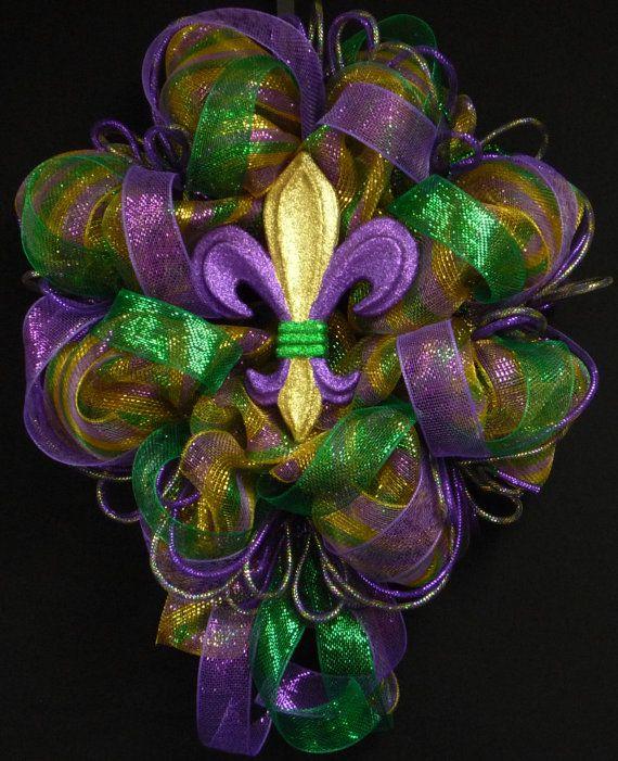 Absolutely love this one!   Mardi Gras Mardi Gras Decor Mardi Gras Wreath by wreathsbyrobin, $60.00