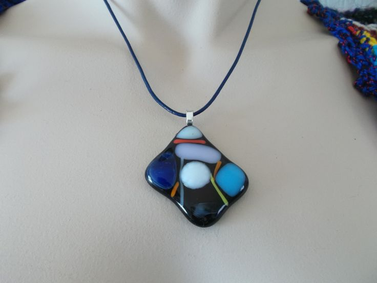 Unique black mosaic fused glass pendant hand cut and fired. by Stitchesincolour on Etsy