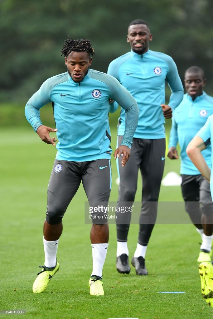 Michy Batshuayi of Chelsea during a training session at Chelsea Training Ground on September 26, 2017 in Cobham, England.