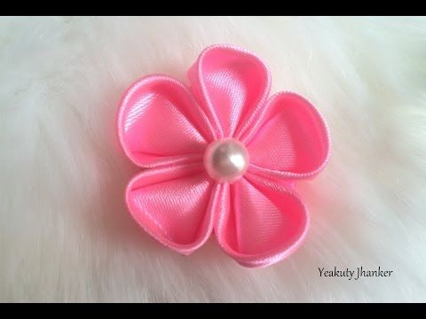 DIY kanzashi satin flower, wedding hair accessoire,kanzashi flower tutorial - YouTube