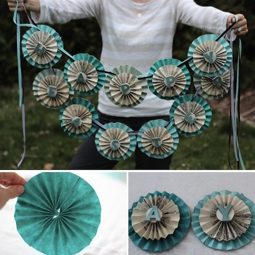 DIY party decorations. Love the idea of a rosette banner.