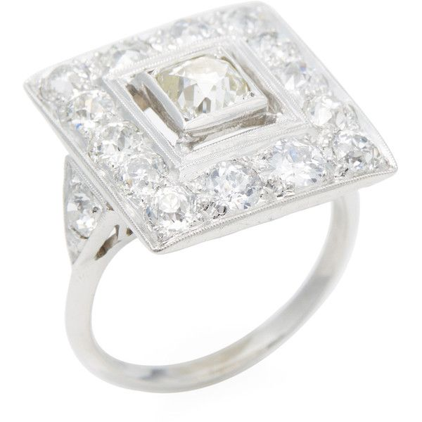 Estate Fine Jewelry Women's Estate Platinum & 5.00 Total Ct. Diamond... ($5,400) ❤ liked on Polyvore featuring jewelry, rings, no color, fine jewelry, vintage jewelry, 1920s vintage jewelry, mint jewelry and vintage diamond cluster ring