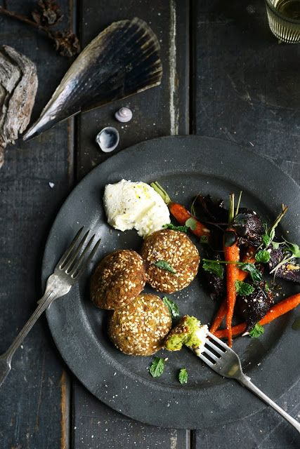.:Broad (Fava) Bean and Chickpea Falafel with Cumin & Honey Roasted Carrot & Beetroot & Homemade Lemony Labne: From the Kitchen:.
