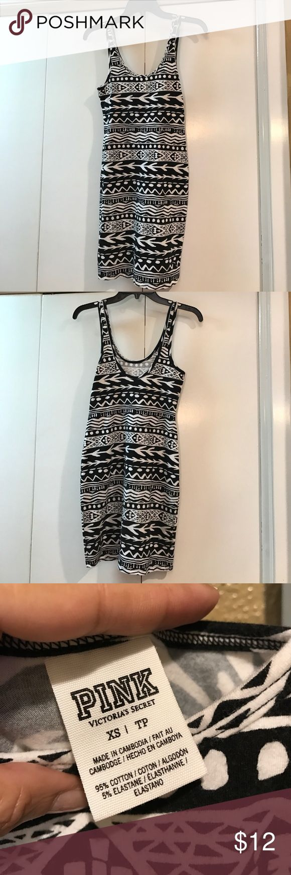 PINK VICTORIAS SECRET AZTEC BODY CON DRESS Cute and stylish! Good pre-owned condition, with some piling. 95% cotton/ 5% spandex PINK Victoria's Secret Dresses Mini