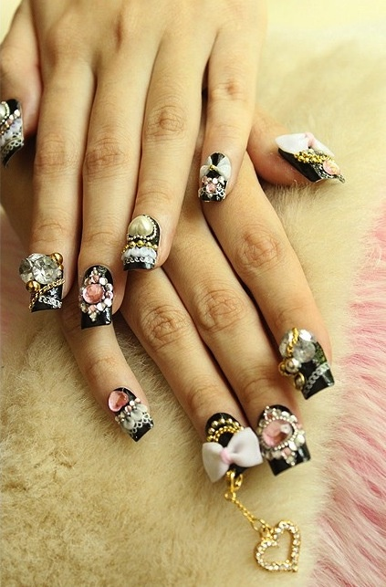 Japanese nail art - black nails with lots of deco, hearts, bows, acrylic, cute!