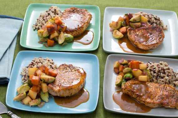 Pork Chops & Fall Vegetable Hash with Wild Rice. Visit https://www.blueapron.com/ to receive the ingredients.