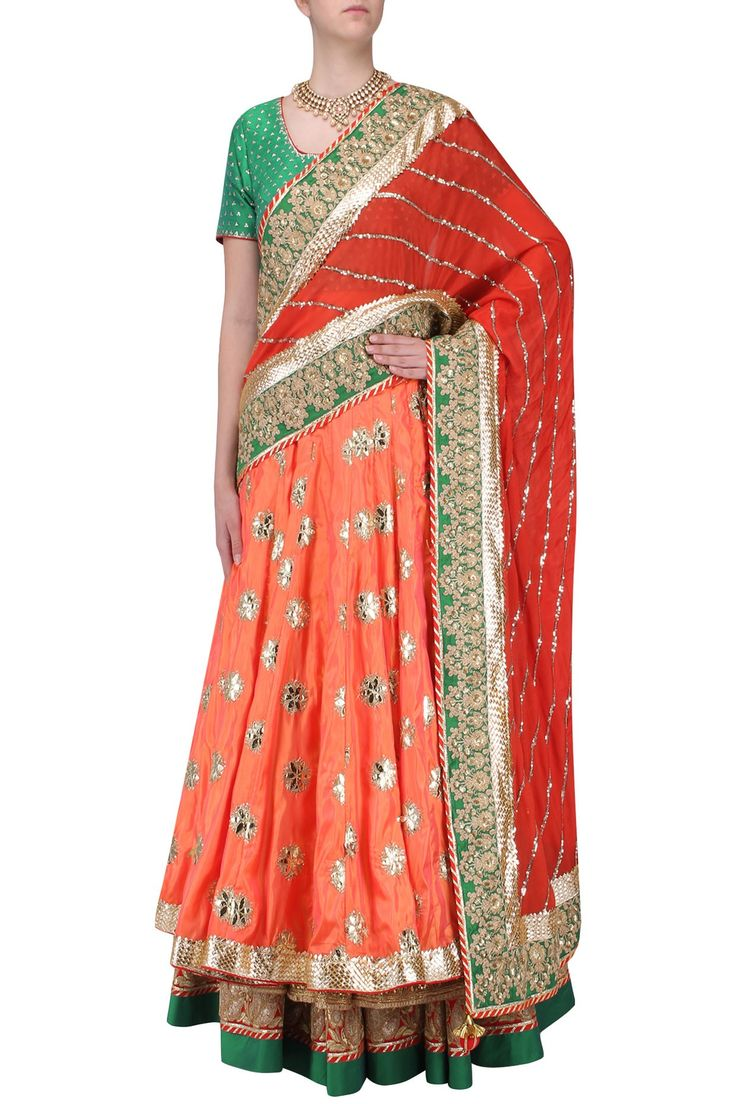 RANG BY MANJULA SONI Red Embroidered Banarasi Lehenga Set.Shop Now!#manjulasoni #red #lehenga  #banarsi #brocade #silk #ethnic #indianfashion #indiandesigners #perniaspopupshop #happyshopping