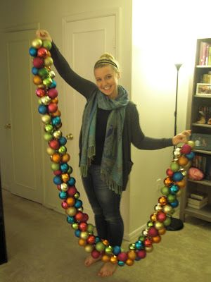 Upside Down Grace: DIY Holiday Ornament Garland ---Maybe next year if I buy ornaments on clearance after Christmas