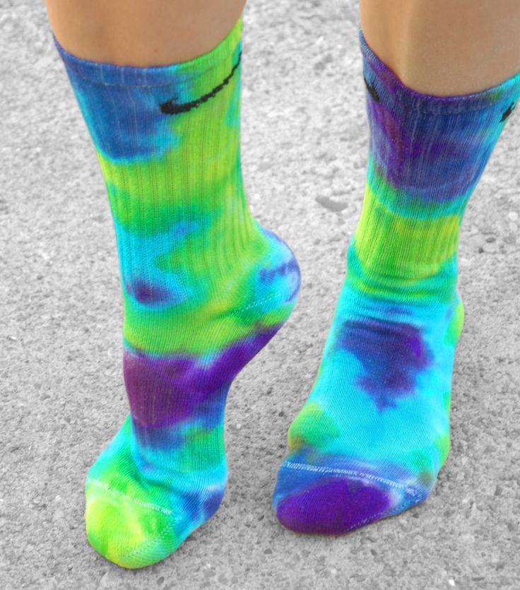 Purple Haze Tie Dye Nike Socks, custom tie dye socks, Purple, Lime, turquoise, hand dyed accessories, school, fun,sports team, athletic wear by DardezDesigns on Etsy https://www.etsy.com/listing/215207319/purple-haze-tie-dye-nike-socks-custom