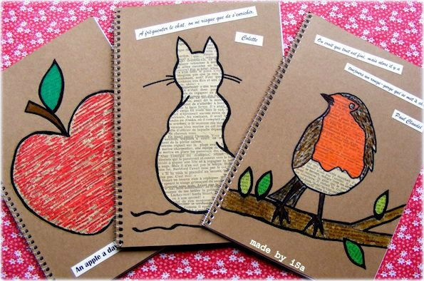 personnalisation couverture carnet # motif pomme chat rouge-gorge # recyclage vieux livre © made by iSa