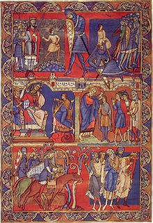"The ""Morgan Leaf"", detached from the Winchester Bible of 1160-75. Scenes from the life of David."