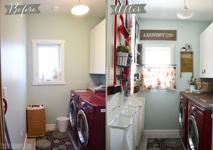 A Vintage Inspired Red & Aqua Laundry Room Makeover