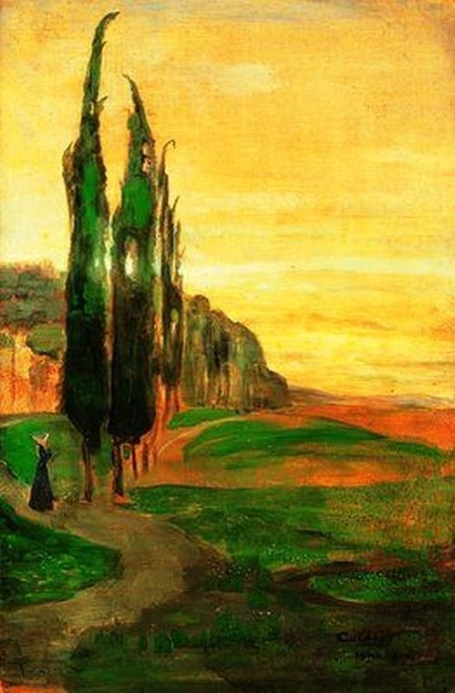 Lajos Gulácsy (Hungarian, 1882-1932): Italian Landscape