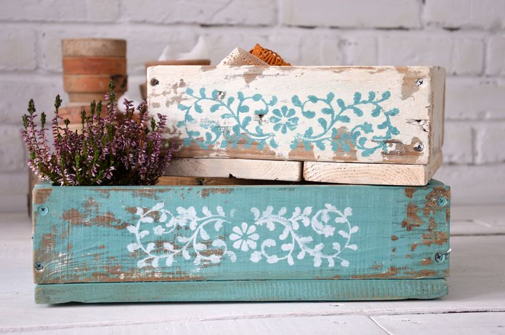 Chippy look wooden boxes with stencil.