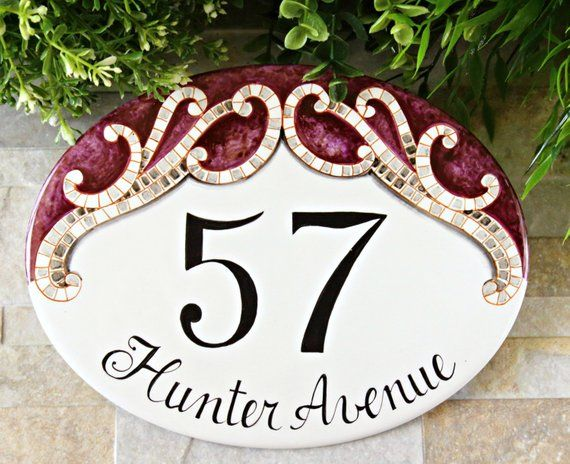 Ovale adresse plaque pelouse Marqueur Maison Signe numéros mur Custom Made