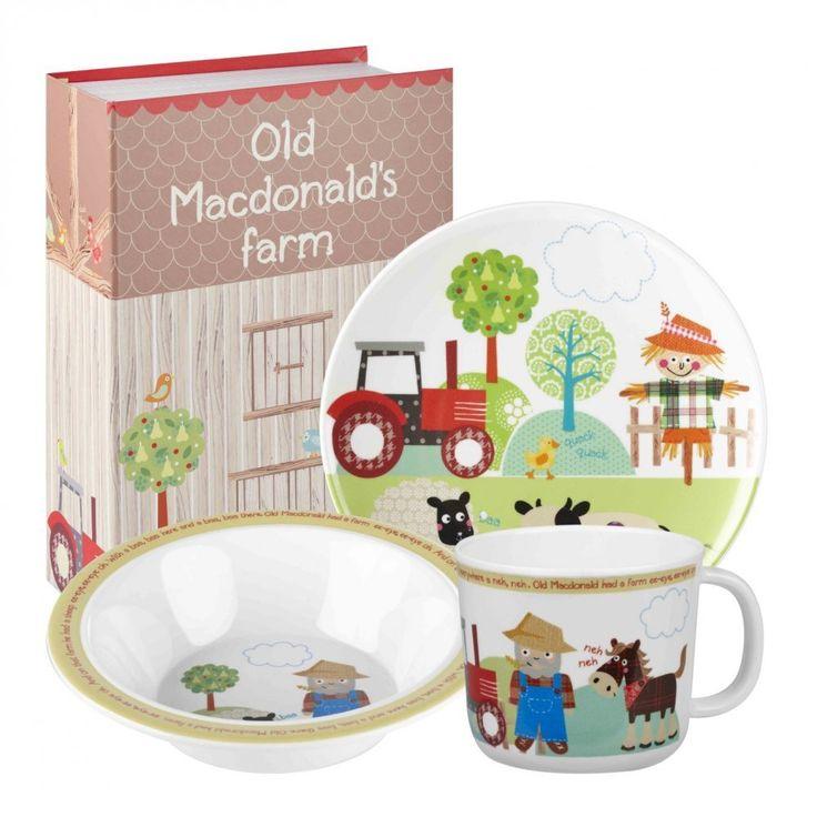 Little Rhymes Old MacDonalds Farm Ensemble de vaisselle à petit-déjeuner en mélamine pour enfants 3 pièces Multicolore: Amazon.fr: Cuisine & Maison