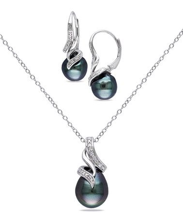 Look what I found on #zulily! Black Tahitian Pearl & Diamond Pendant Necklace & Drop Earrings #zulilyfinds