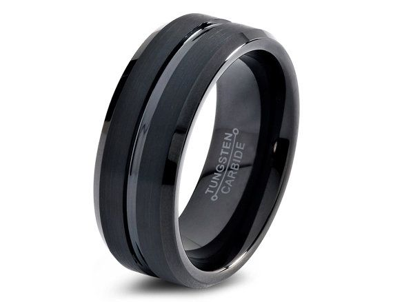 Tungsten Wedding Band8mmBlack Wedding BandMens by GiftFlavors