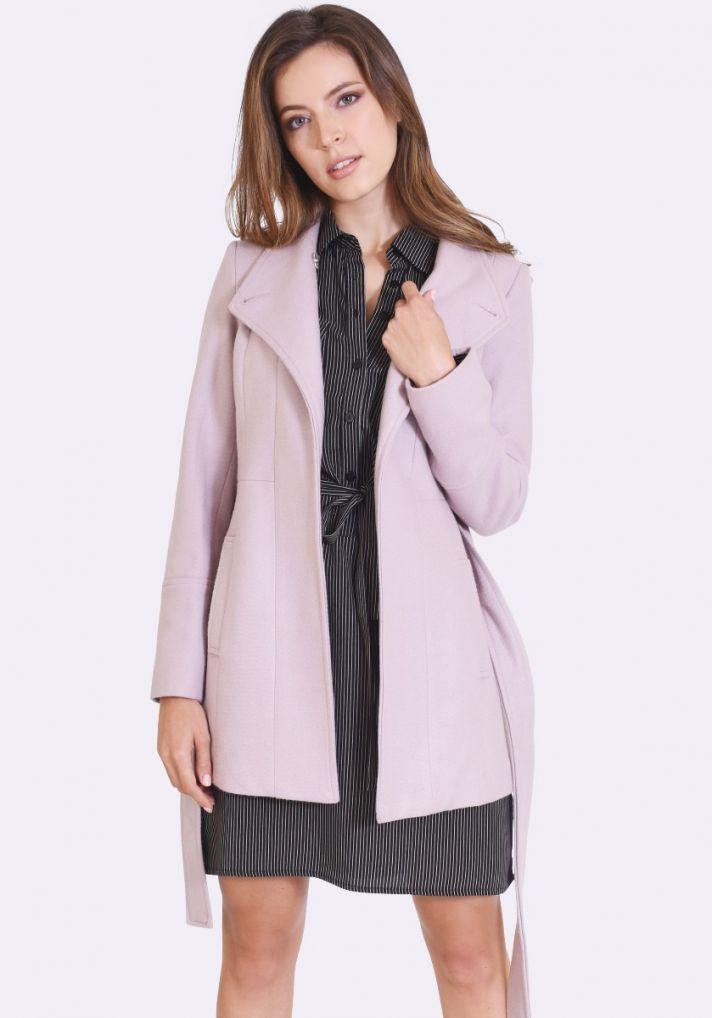 Kelly Button Neck Coat (Mink)