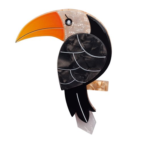 Limited edition, original Erstwilder Terrence Toucan Brooch in orange. Designed by Louisa Camille Melbourne. Buy now