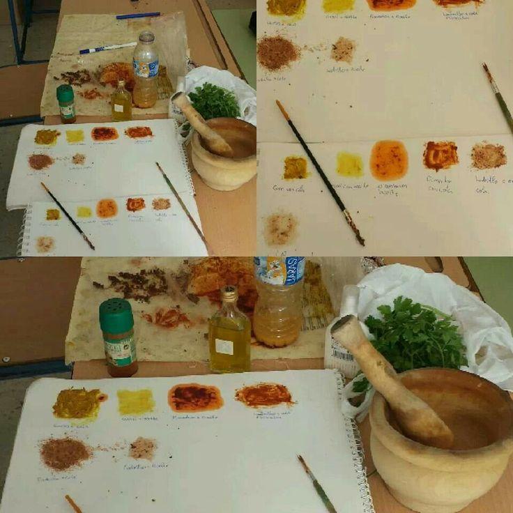 Taller pintura prehistorica con pigmentos naturales (canela, pimentón,  curry, etc)