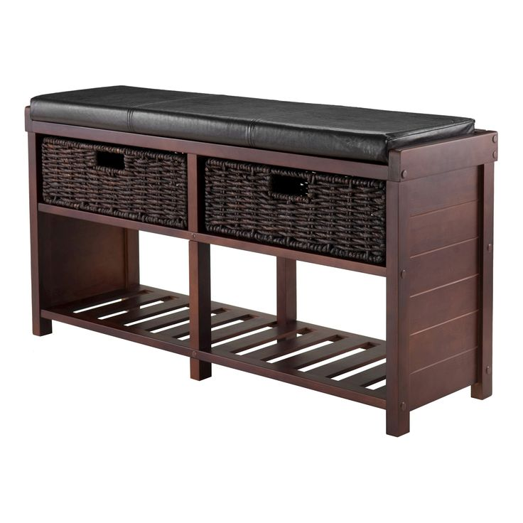 colin entryway storage bench with cushion cappuccino winsome light brown