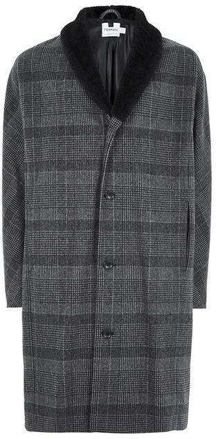 Topman Gray Check Faux Fur Collared Coat