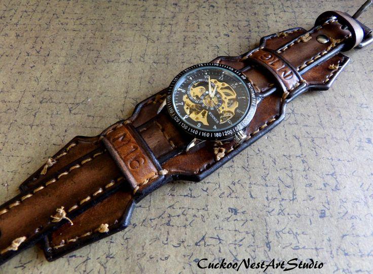 Lederen Wrist Watch Steampunk mannen door CuckooNestArtStudio
