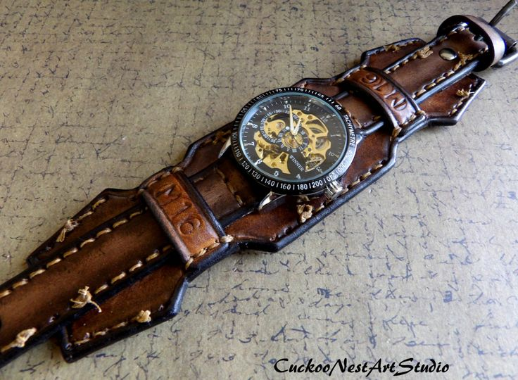 Leather Wrist Watch Steampunk Men's watch by CuckooNestArtStudio