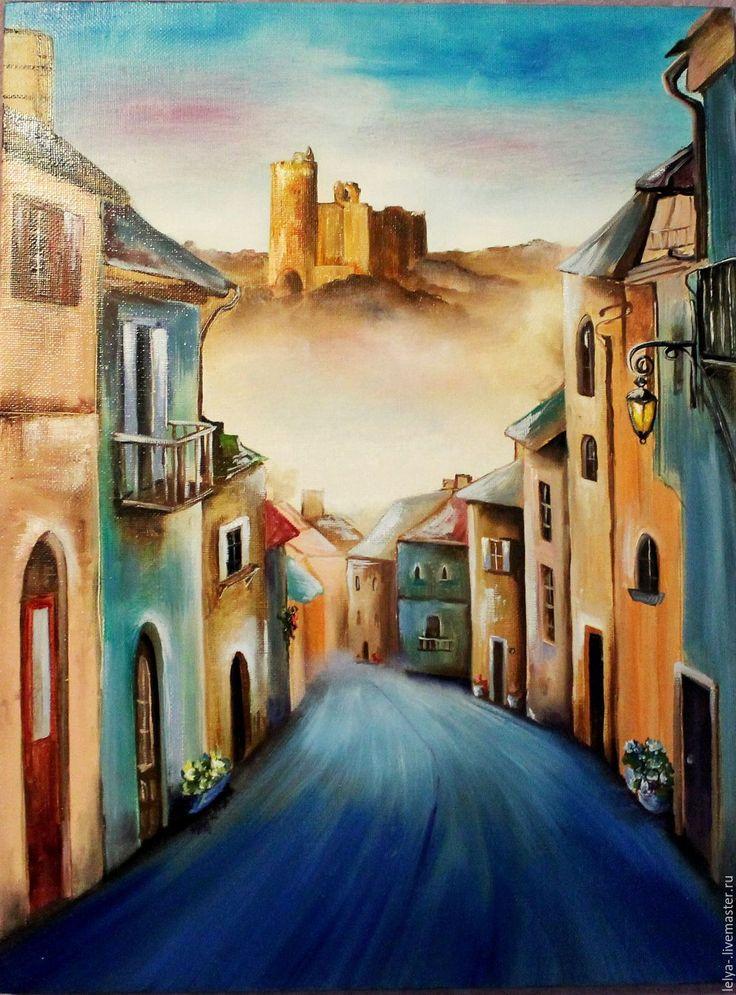 Купить Картина маслом Дорога к замку - комбинированный, городской пейзаж, город, городская тема, городок