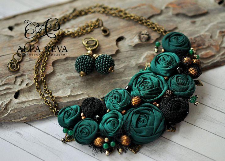 """Купить Колье """"Зачарованный лес"""" - тёмно-зелёный, колье, цветочное колье, цветы из ткани"""