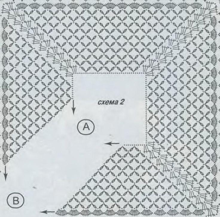 вязание крючком шали палантины со схемами