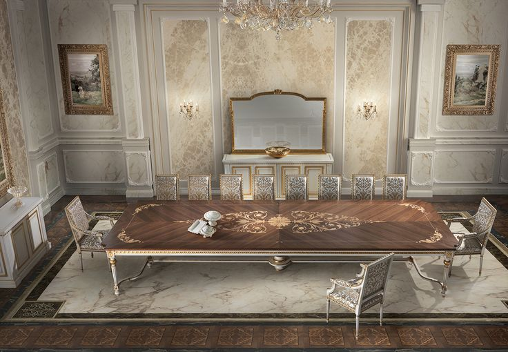 VAN GOGH Italian classic dining room with table inlaid top